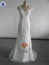 Alibaba China HMY-E0091 V Neck Keyhole Back Over All Romantic French Lace Cap Sleeve Mermaid Wedding Gown