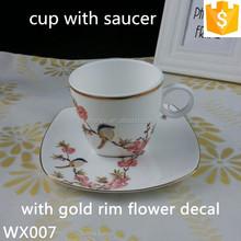 ceramic gold rim tea cup and saucer 300ml bone china tea cup and saucer sets