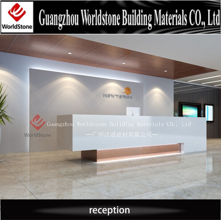 Hotel Reception Counter Design Pure White Elegant Lobby