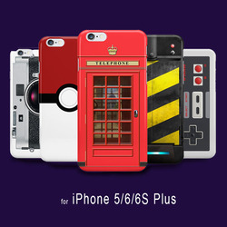 Funny Camera British Red Telephone Box PokeBall Pattern Printing Cover Case For capinhas para iPhone 5 6 6s Hard PC Case
