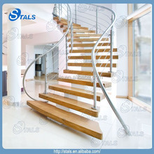Morden house china manufacturer Stals supply curved stainless steel railing oak wood stairs