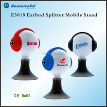 dual 3.5mm earbud splitter with mobile stand