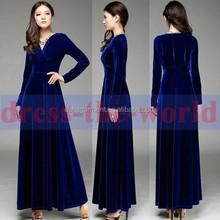 Sexy Women V Neck Autumn Gorgeous Velvet Long Sleeve Cocktail Party Maxi dress guangzhou China factory
