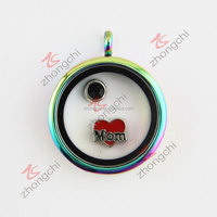 Factory Price Direct Wholesale Round Floating Charm Colorful Plated Locket With Clear Glass