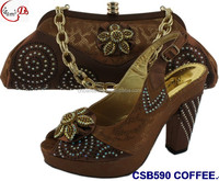 Hot selling women shoes and bag set CSB590 in Coffee high quality italy shoes matching bag for evening/Christmas party shoes