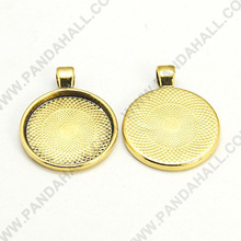 25mm Tray Antique Golden Alloy Pendant Cabochon Settings, Lead Free & Cadmium Free & Nickel Free(PALLOY-A15654-AG-NF)