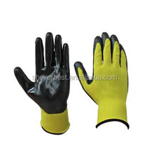 Super quality, 13G knitted nylon liner with black nitrile coated on the palm and top of finger.china supplier.