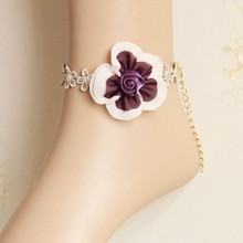 Fashion lace anklets rose flower girls foot ring retro fashion accessories wholesale