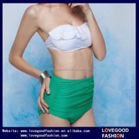 Lovegood Fashion 2 PCS Swim White Bandeau with Falbala and Green High-Waist Ruched Bottom