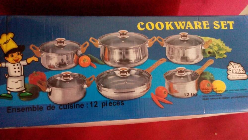 в США из нержавеющей стали 12шт приготовление кастрюли набор inox посуда набор кухонные горшки с цвет приятный подарок элемент