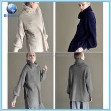 Fashion korean knitwear New design for women pullover sweater knitting pattern high collar pullover sweater