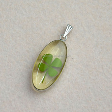 fashion jewelry really pressed flower four-leaf clovers brass charm pendant Rhodium Plated