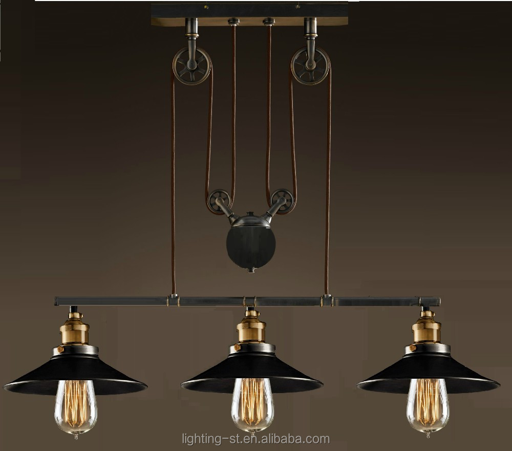 Artistic Pendant Light With 3 Lights In Pulley Block