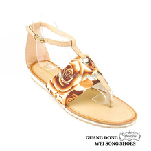 OEM thong printing ankle strap flat leisure 2015 new style fashion ladies sandals women shoes