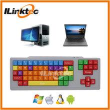 Einzigartige kinder tastatur! Großen buchstaben und Kabel computer-tastatur farbigen tasten für Kinder mit