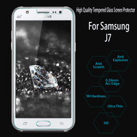 High Quality Hot-sale 0.26mm Crystal Clear Premium Tempered Glass Film Screen Protector For Samsung Galaxy J7