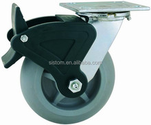 44 Series Double Ball Raceway Structure Top Plate Swivel Grey TPR Caster with Nylon Total Lock Brake