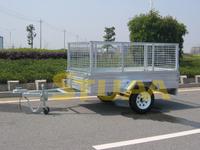 3.High technology container galvanized flat deck semi-trailer by welding robot 8x7ft