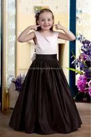 HT946 Elegant sleeveless black and ivory flower girl dresses