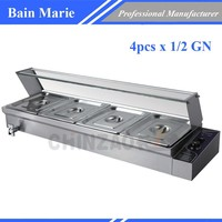 NEW FOOD GRADE STAINLESS STEEL FOOD WARMER BAIN MARIE 4 X 1/2GN BUFFET DISPLAY