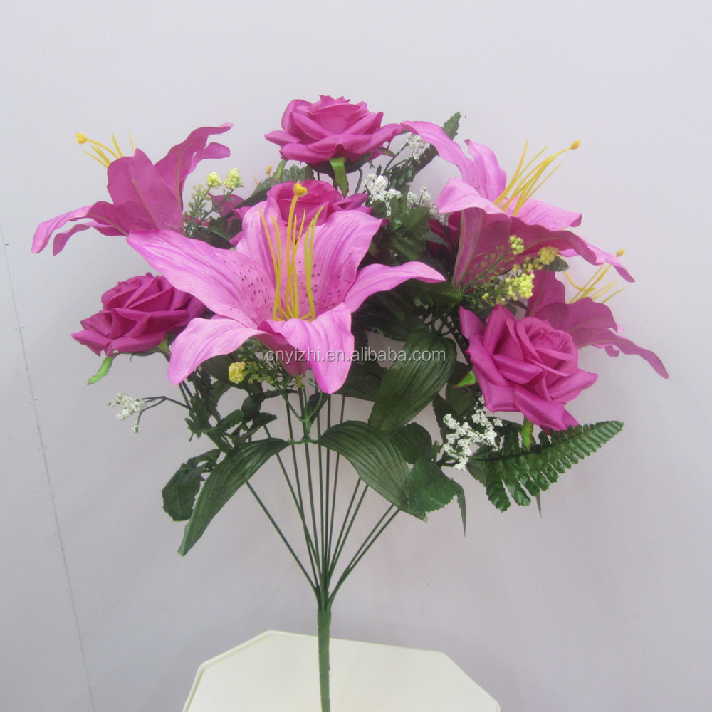 Real Touch Artificial Flower Lily Rosenew Single Lily Rose Bouquet