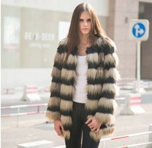 Hot! Fashion Stitching spell Wool /artificial fur coat / long sections / fox and rabbit fur coat mixed colors/Wholesale