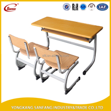 Steel strong modern school furniture study table with school chair for students