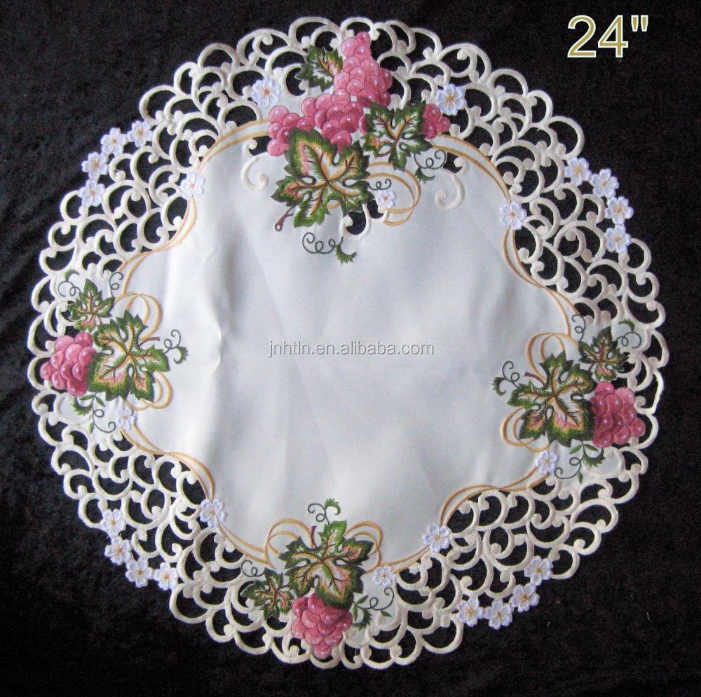 Rotondo Ricamato Centrino o Tovaglietta fiore o farfalla stile 12 Pollici