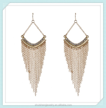 2015 hotsale stylish fancy women decorative jewelry hanging long chain earrings with zircon