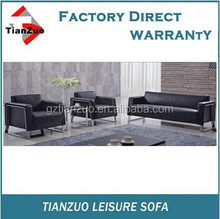 TZ-B99 high quality Boss Contemporary Reception Loveseat sofa with Polished Stainless Steel Frame