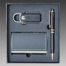 Business Credit Name Card Holder Case Pen keychain Gift Set