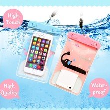 New custom lovely 100% seal fashion Cartoon PVC waterproof bag for cell phones (19*11.5cm)