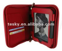 Red color zipper leather case cover for nook simple touch