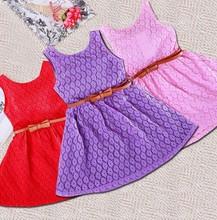 2015 hot sale girls lovely summer pierced vest dress with belt, candy colors