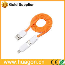 mobile phone accessories factory 2 in 1 USB date wire date cable for android and for apple phone