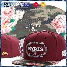 Populares de la fábrica top sale barato del sombrero del snapback para la promoción
