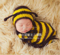 Bee Style Hand Knit Bonnet and Sack full set Newborn Baby photo props Hat And Cocoon Photography Prop Set