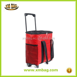 18L large folding insulated rolling cooler bag trolley cooler bag wheeled cooler bag