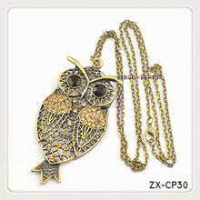 Fashion Classic Owl Jewelry Pendant Necklace Alloy Body Chain Ancient Silver Owl With Big Eye Pendant