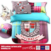 100%Cotton Reactive Print Home Hotel Use Printed Cartoon Bedding Sheet