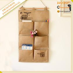 Vintage design 100% hemp wall hanging jute storage bag