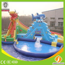 2015 China HI CE EN14960 much fun dragon head cheap professional commercial giant inflatable water slide for adult