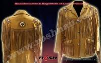 fringes leather/beaded jackets Native American Western Leather Jacket foMen's
