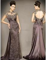 New Arrival Vestidos De Fiesta Brown A-Line O-Neck Lace Graduation Dresses evening sequins beaded dresses FXL-931