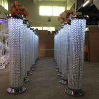 Hot sale crystal pillar with LED light wedding stage decoration, flower stand