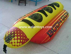 Hot Dog Inflatable Water Tube, 2 person Banana Boat Towable Float Boating Raft