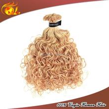 Brazilian human hair white platinum blonde kinky curly virgin hair extensions