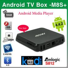 Best selling xbmc kodi quad core 4k player android tv box M8s+ plus amlogic S812