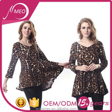 women's leopard print round neck 3/4 sleeve blouse
