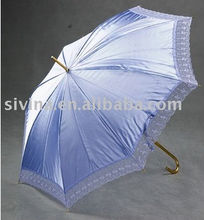 23 Inch Auto Open Aluminum Curved Handle Straight Umbrella Lace Piping Umbrella Bluetooth Umbrella
